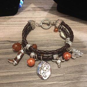 Jewelry - Western themed cowgirl charm toggle bracelet